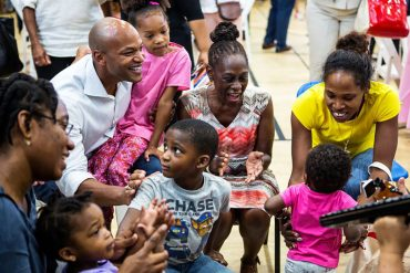 Wes Moore, CEO of Robin Hood, with Chirlane McCray, First Lady of New York City, at the FUEL launch event at the Brownsville Recreation Center in Brooklyn. Photograph courtesy Office of the First Lady, New York City.
