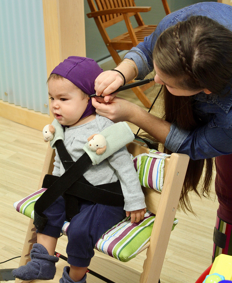 Babies are fitted with small caps equipped with GPS sensors. Photo: Institute for Learning & Brain Sciences (I-LABS), UW.