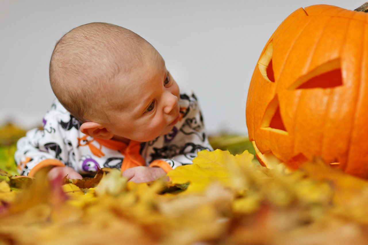 A cute baby looking surprised at a jack o' lantern on some autumn leaves